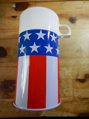 Nice Red White Blue Patriotic Insulated lunch box sized Thermos Bottle-NIP
