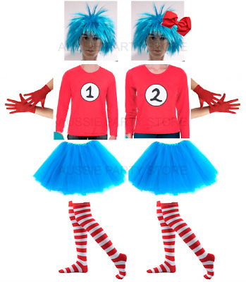 Thing 1 and Thing 2 Dr Seuss Cat in the Hat Book week Costume Top and Wig School