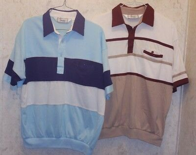 LOT OF 2 Vintage CLASSICS by PALMLAND Retro LARGE L Polo Shirt MEN BLUE RED