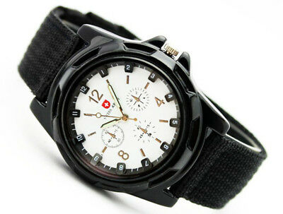 SWISS Men Boy Round Dial Nylon Strap Band Military Army Quartz Wrist Watch HDS