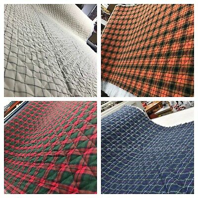 Ready Pre Quilted Wincyette Flannel Check Tartan Fabric Brushed Soft Cotton