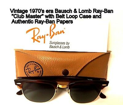 Vintage, B&L Ray-Ban, Clubmaster Sunglasses, 1970's era.. with Case & Papers