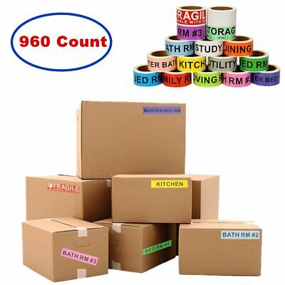 960 Count Home Moving Color Code Stickers House Supplies Boxes Packing Labels US