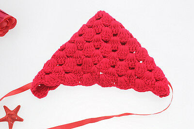 New Baby Red Color Crochet Beanie Silk Ribbon Knitting Wool Hat Photography Prop