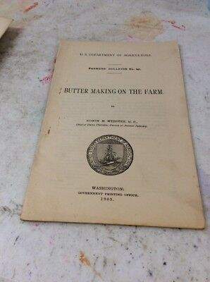 US DEPARTMENT OF AGRICULTURE FARMERS BULLETIN Butter Making On The Farm 1905