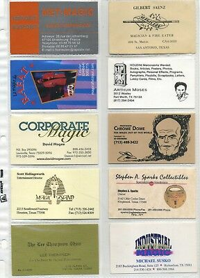 Magicians Business Card collection 50 examples mostly 20th century; Magic Castle
