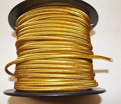 25 ft GOLD PARALLEL RAYON COVERED LAMP CORD 2 WIRE ANTIQUE VINTAGE STYLE 46630JB