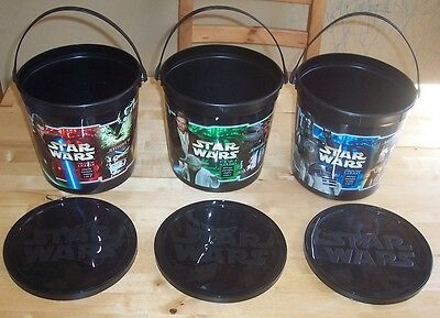 STaR WaRS Episode II Attack of the Clones FritoLay Snack Bucket Set of 3 w/ Lids