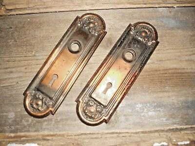 Vtg Set Fancy Victorian Tiger Stripe Copper Flash Japanned Door Knob Backplates