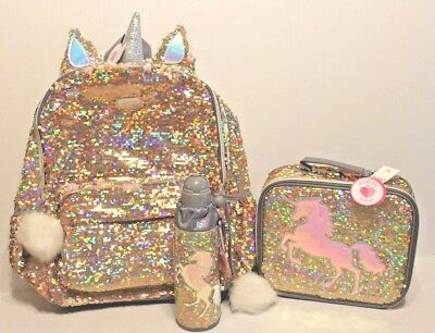 Justice Gold Unicorn Flip Sequin Large Backpack & Lunch Box Tote & Water Bottle