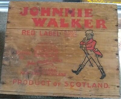 Vintage Johnnie Walker Red Label Wood Crate Box Scotch Canada Dry