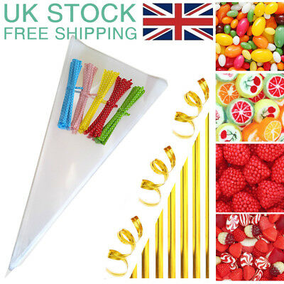 CLEAR CELLOPHANE CONE EMPTY BAGS - Sweet candy kids Party Favour Cones cello UK