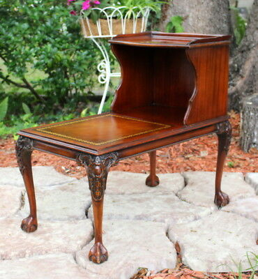 Vintage Ball Claw Foot Leather Top Chippendale Style Side Table End Table