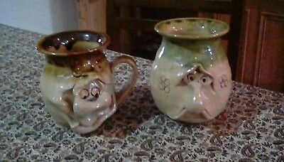 Ugly Pottery Wales Mug And Beaker Collectables Happy and Sad Faces