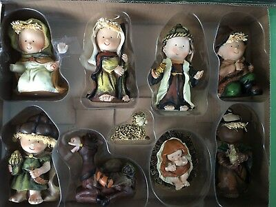 9 Piece Colorful Childrens Christmas Nativity Set Holiday Decoration