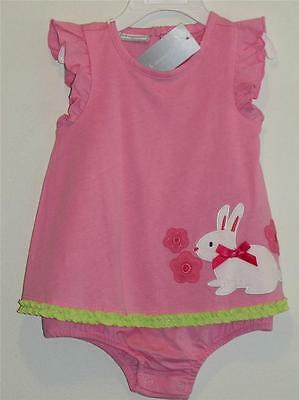 New First Impressions Pink & White BUNNY RABBIT Romper Sunsuit Sz 6-9M, 12M, 18M