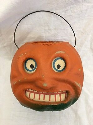 VINTAGE Style Paper Pulp/Mache Jack O Lantern PUMPKIN Seasons Gone By Halloween