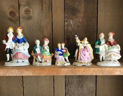5 Vintage Occupied Japan Figurines Man and Lady Hand Painted Victorian/Edwardian