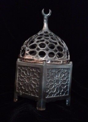 Vintage Architectural Souvenir Bronze Cast Mosque Incense Burner Geometric Dome