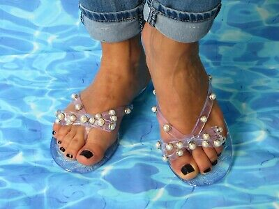b652ee9ca11f MALAGA JELLY SANDAL WOMEN SHOES FLIP FLOP THONG FLAT PEARL BOW DECO By ANN  MORE