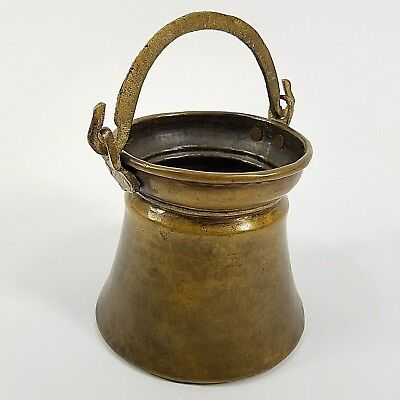 Vintage Antique Primitive Handmade Small Bucket Pail Pot Brass Cast Handle