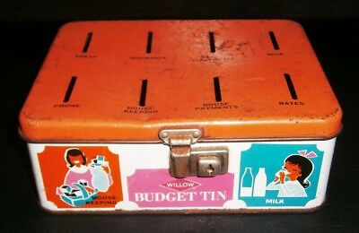 Vintage Collectable Willow Budget Tin Money Box