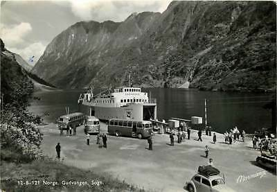 NORWAY Sogn, Gudvangen Norge Real Photo Vintage cars, Ferry and Buses 1955