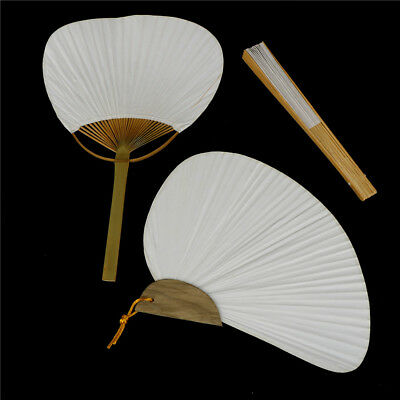 1pc White Folding Elegant Paper Hand Fan Wedding Party Fav A