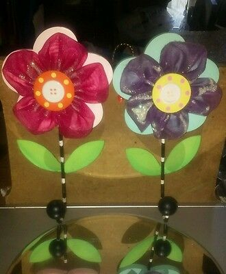 Pair of Girls Decorative Wooden and Toole Flower Wall Hangings w/ Wood Ball Hook