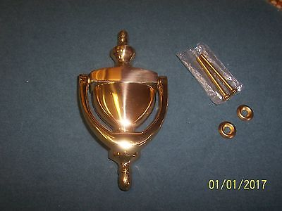 """Door Knocker Solid Brass Nice With Hardware Used Shinny Brass 6"""" Long Vintage"""