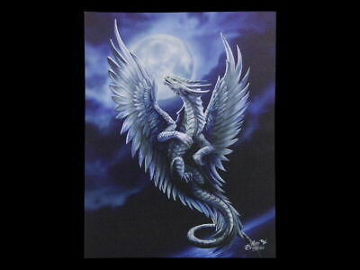 "Anne Stokes ""Silver Dragon"" Large 40x30cm Dragon Canvas Wall Art Plaque Fantasy"