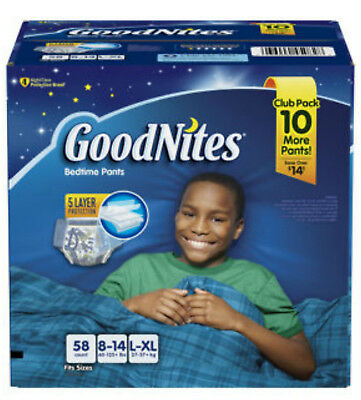 GoodNites Bedtime Underwear for Boys  L/XL 58 Ct.. CONTINENTAL USA SHIPPING ONLY