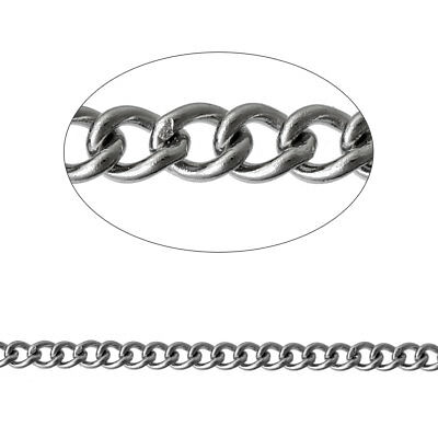 Findings - 2.5x2mm 304 Stainless Link Curb Silver Tone Chain - 1 Metre