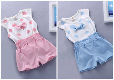2pcs Kids Baby clothes girls summer cotton Tee +short pants kids outfits bowknot