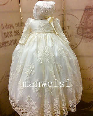 Ivory Antique Christening Dress Long Sleeve Sequins Lace Baptism Gown Bonnet New