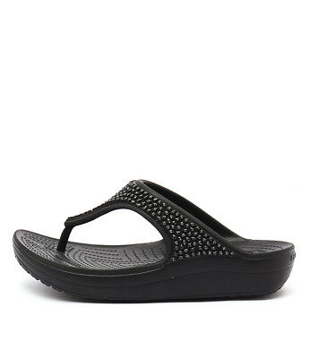 New Crocs Sloane Embellished Flip Black Womens Shoes Casual Sandals Heeled