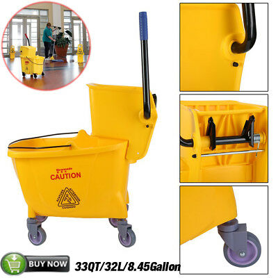 Rolling Mini Side Press Mop Bucket with Wringer 33qt / 8.45 Gallons/32L Yellow T