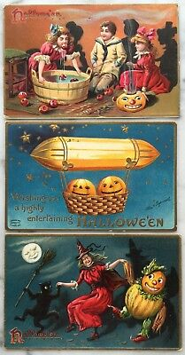 LOT 3 Halloween Embossed Postcard Ellen Clapsaddle Jack-o-lanterns zeppelin1900s