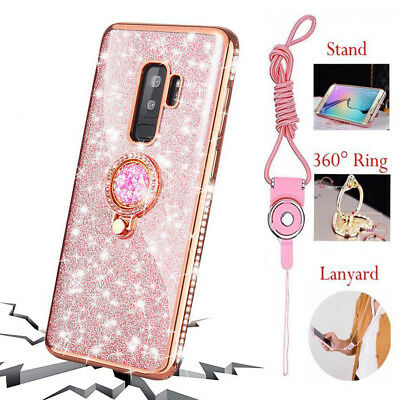 Bling Crystal Case Cover for Galaxy J3 J7 2018 Note 9 S9 S8 Plus + Ring Holder