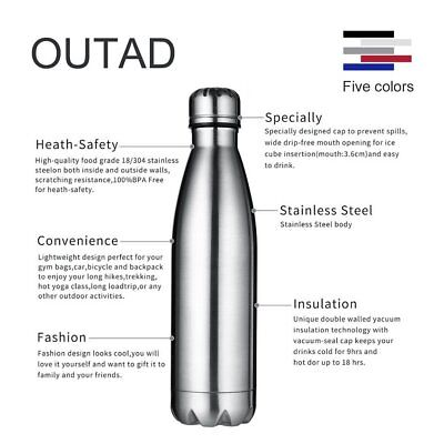 Vacuum Insulated Water Bottle Hot Cold 500ml Double Wall Stainless Steel NEW USA