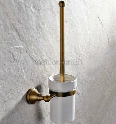 Antique Brass Bathroom Wall Mounted Toilet Brush Holder Set Ceramic Cup fba149