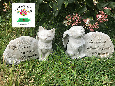 Pet Memorial Statue - Dog / Cat - Angel Sentiment Stone / Headstone - 15cm