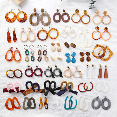 2Pcs Acrylic Tortoise Shell Earring Round Circle Resin Hoop Earrings For Lady