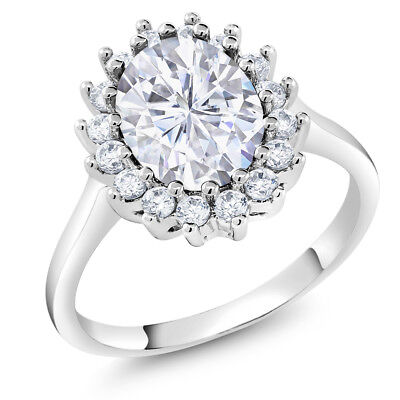 3.00 Ct Vintage Classic White Rhodium Plated CZ Oval Cut Cocktail Ring