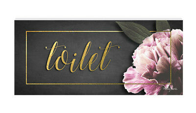 French Country Inspired Wall Art Plaque Midnight Floral Toilet Wooden Sign New