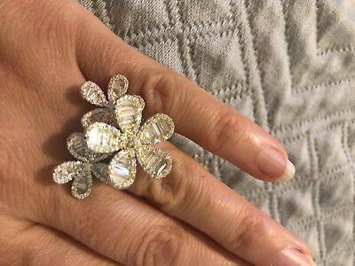 Gorgeous! Antique Vintage Silver 925  Silver/Gold/Pink Flower Ring. Wow!