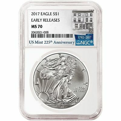 2017 American Silver Eagle 1oz NGC MS70 Early Releases US Mint 225th Anniv