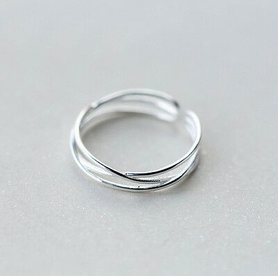 925 Sterling Silver Simple Criss Line Dainty Thin Open Ring size 7-7.5 A3258