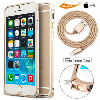 Gold Portfolio For iPhone 6 6s Plus Alloy Clasp Case+Glass Guard/Charger Cable