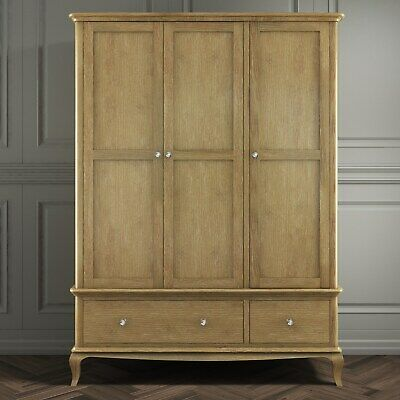 Oak Wardrobe Triple 3 Door 2 Drawer French Style Washed Oak Crystal Handles